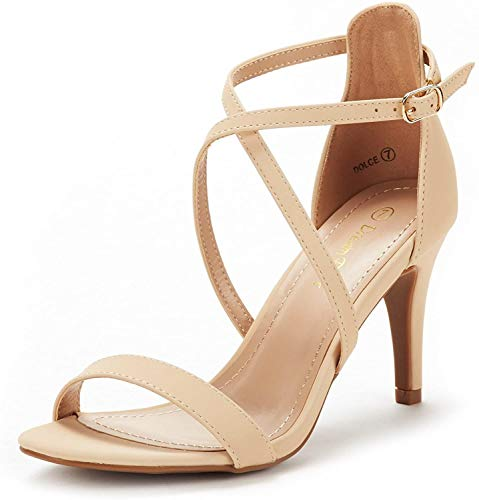 DREAM PAIRS Women's Dolce Nude Nubuck Fashion Stilettos Open Toe Pump Heel Sandals Size 10 B(M) US