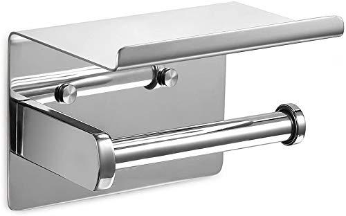ZNBLLH Porta Rotolo di Carta Igienica Acciaio Inossidabile A Parete con Scaffale Spazioso per Cucina E Bagno Porta Rotoli da Bagno Portautenio da Cucina