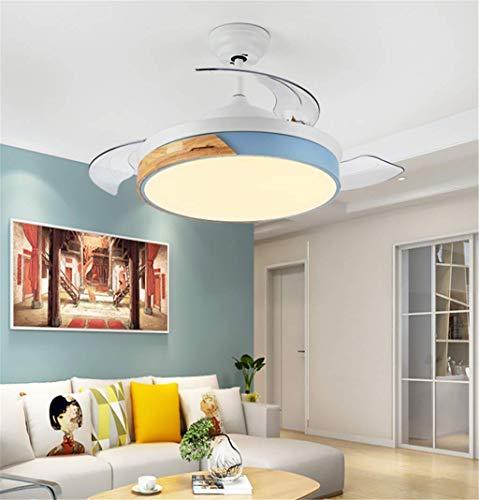 Iluminación Ventilador de Techo Moderna simple de la Oficina de la hoja de acrílico creativo Macaron Dormitorio Comedor Salón de techo, 91cm