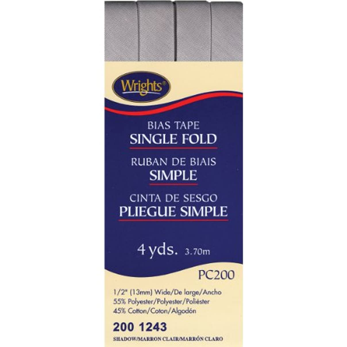 Wright Products 117-200-1243 Wrights Single Fold Bias Tape, 4 yd, Shadow if94495283913