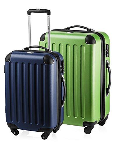 HAUPTSTADTKOFFER - Spree - 2er Koffer-Set Hartschale Matt, TSA, 55 / 65 cm,  mit Volumenerweiterung, Dunkelblau-Apfelgrün