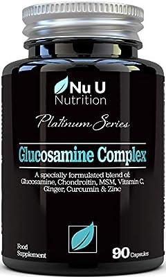Glucosamine and Chondroitin, MSM, Vitamin C, Ginger, Turmeric Curcumin & Zinc   90 Glucosamine Sulphate Capsules   Platinum Series by Nu U Nutrition Made in The UK