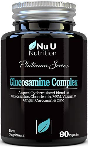 Glucosamine and Chondroitin, MSM, Vitamin C, Ginger, Turmeric Curcumin & Zinc | 90 Glucosamine Sulphate Capsules | Platinum Series by Nu U Nutrition Made in The UK
