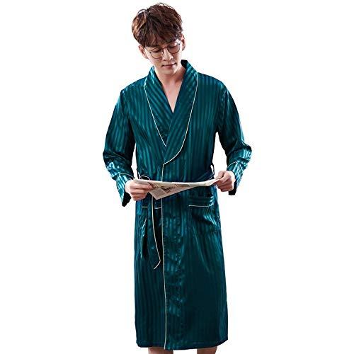 STJDM Bata de Noche,Albornoz a Rayas de Lujo para Hombre de Talla Grande Pijama de satén de Seda Kimono camisón de Verano para Hombre Bata de Seda L LX-98050