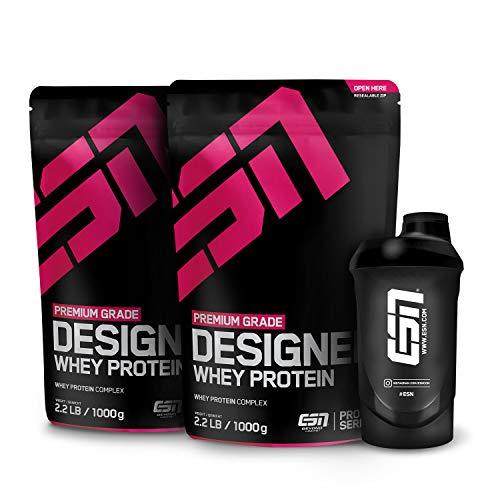 ESN Designer Whey Protein – 2x1000g + Gratis ESN Shaker – Cookies and Cream – Eiweißpulver reich an essentiellen Aminosäuren (EAAs) – Sehr gut löslich – 66 Portionen – Made in Germany
