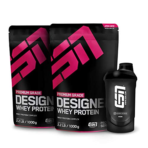 ESN Designer Whey Protein – 2x1000g + Gratis ESN Shaker – Strawberry White Chocolate – Eiweißpulver reich an essentiellen Aminosäuren (EAAs) – Sehr gut löslich – 66 Portionen – Made in Germany