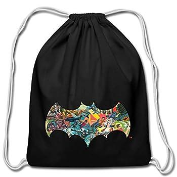 Spreadshirt DC Comics Batman Robin Fight Crime Bat Symbol Cotton Drawstring Bag black
