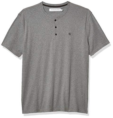 Calvin Klein Camiseta de manga corta Henley con logotipo acanalado para hombre, mediano, gris, M