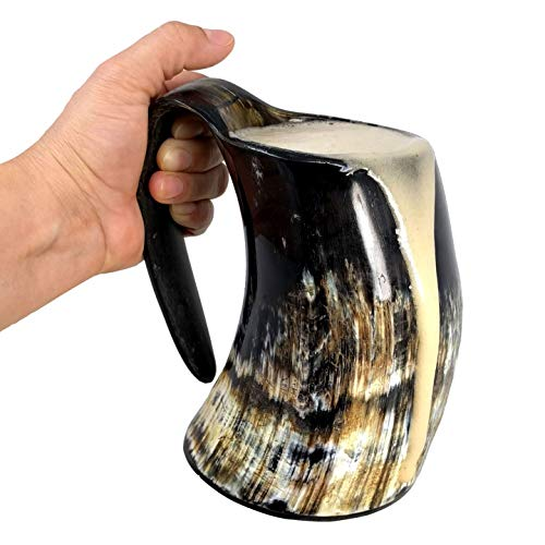 AleHorn Viking Drinking Horn - Genuine Ox Horn Tankard for Ale & Mead - Food-Grade Medieval Style Mug - Handcrafted Manly Beer Cup - Gift Idea for Anniversary, Birthday & Father's Day - Large, Natural