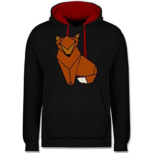 Shirtracer Eulen, Füchse & Co. - Origami Fuchs - XS - Schwarz/Rot - Kind - JH003 - Hoodie zweifarbig und Kapuzenpullover für Herren und Damen