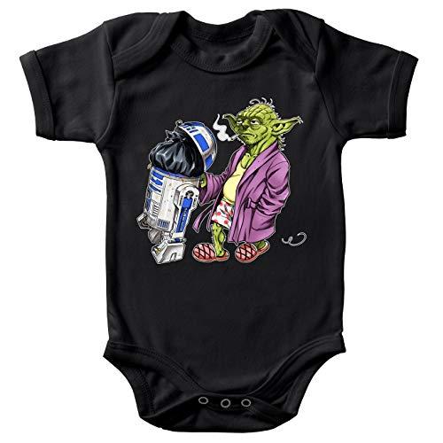 Body bébé Manches Courtes Noir Parodie Star Wars - R2-D2 et Yoda - Le Maître en Week-End. (Body bébé de qualité supérieure de Taille 12 Mois - imprimé en France)