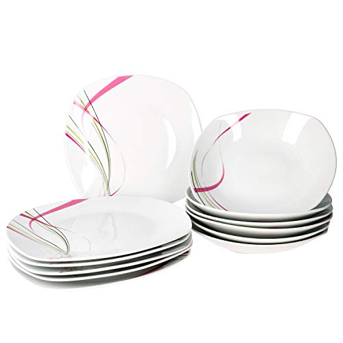 Van Well I 12-TLG. Tafelservice Fashion I Teller-Set I Speiseteller + Suppenteller I abstrakte Streifen pink-grün-grau-schwarz I Porzellan-Geschirr