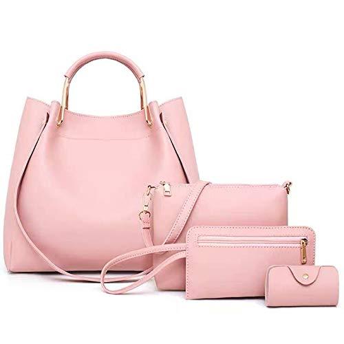 Miss Lopez WomenMiss López - Bolso de mano con asa superior, 4 unidades, color rosa