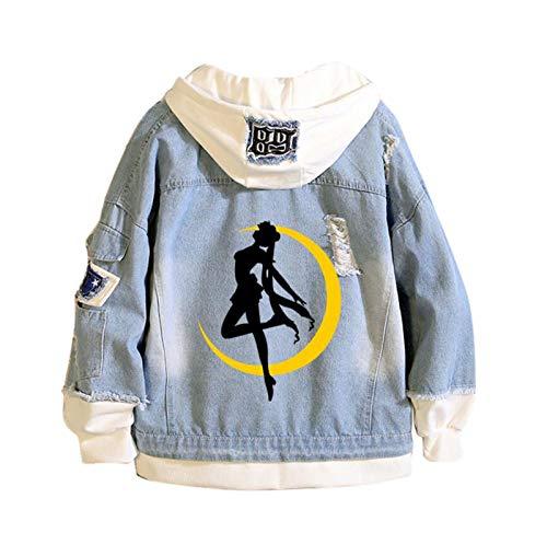 kasonj Anime Sailor Moon Denim Hoodie Jacke Mantel Damen Teens Sailor Moon Cosplay Sweatshirt