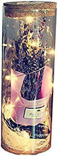 Valentine's Day Gift Artificial Lavender Flower Bouquet Wishing Bottle Fresh Cork letter paper Drift bottle Preserved for ...