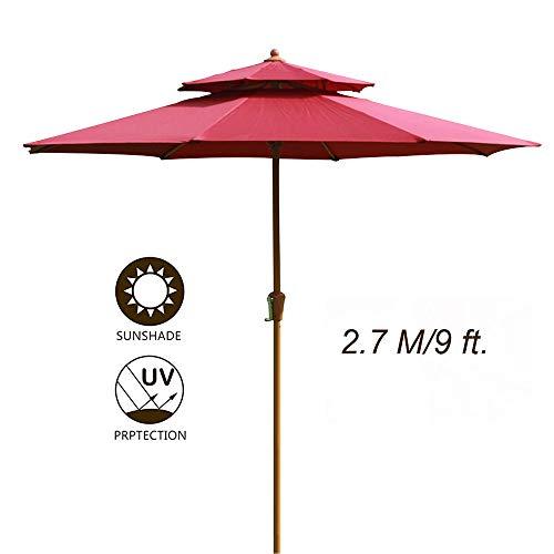 SHXF Sombrilla de Madera Parasol de jardín Protección UV Sombrillas Redondas para Balcony Beach, Durable, Robusto