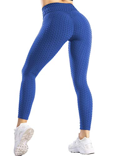 SLIMBELLE Polainas con textura de nido de abeja para mujer - Pantalones de yoga de cintura alta Anticelulitis [Azul - Grande]