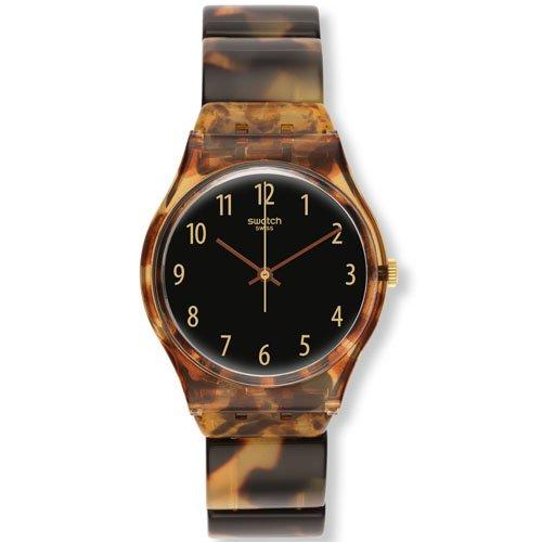 Swatch Ecaille GC113B - Orologio da donna con quadrante nero, guscio di tartaruga marrone
