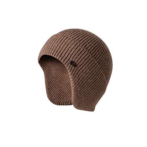 Beanie Sombrero de Hombre - Gorro de Invierno Gorras de Punto Calientes Sombrero Casual para Hombre con Orejeras,Brown