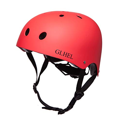 スポーツヘルメット サイズ調整可能 アイススケート スケートボード 自転車 保護用ヘルメット 子供大人兼用 (赤, M)