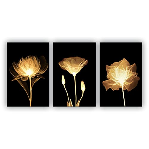 Kit Placas Quadros Decorativos Sala 3 Pçs 20x30 Floral Flores Amarelas