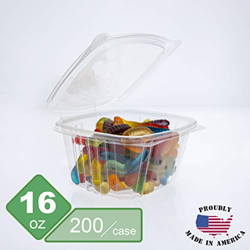 Genpak's AD16 Deli Container | 16 oz Clear Hinged Deli Container | Patented 360-Degree Seal, Leak Resistant, Unmatched Clarity | 100% Recyclable, BPA Free, Made in The USA | Case of 200 Containers
