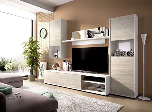 Muebles La Factoría - Mueble salón Comedor Moderno Funcional y economico, Acabado en Blanco Brillo Combinado con Gris Suave, Medidas: 220 Ancho x 41 cm de Fondo.