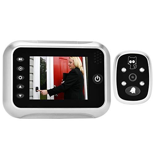 Bewinner Visor de Puerta Digital, LCD de 3,5 Pulgadas con visión Nocturna por Infrarrojos Visor de Timbre Digital Cámara de Mirilla de Puerta Función de Disparo automático y grabación