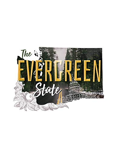The Evergreen State Wall Decor Art Print featuring different US states on a white background - 8x10 unframed print - great gift for relatives and friends from Washington