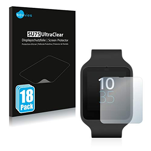 Savvies 18x Schutzfolie kompatibel mit Sony Smartwatch 3 SWR50 Displayschutz-Folie Ultra-transparent