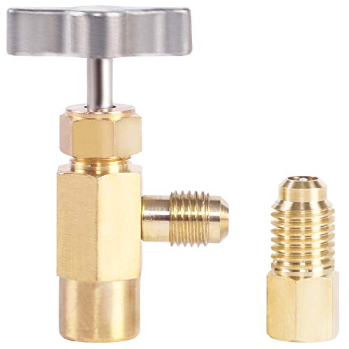N / A YSTOOL R134a Can Tap Valve AC Refrigerant Bottle Brass Opener Automotive Air Conditioner Freon Can Dispenser Tool with Acme Tank Adapter