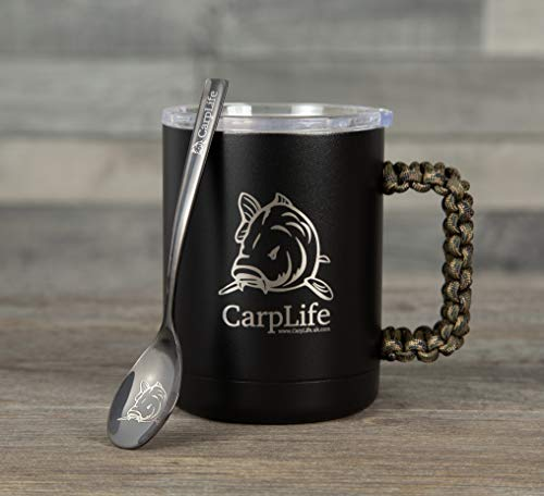 CarpLife Thermal Fishing Mug with Spoon - Stainless Steel Thermal Mug with Lid and Etched Carpy Spoon