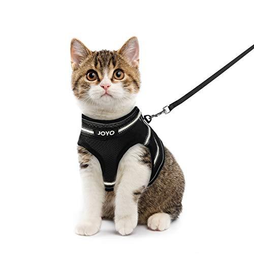 JOYO Katzengeschirr mit Leine Ausbruchsicher verstellbar weich Welpengeschirr, Cat Harness mit Reflektierender Streifen, Brustgeschirr für kleine Kätzchen und kleine Hunde (M)