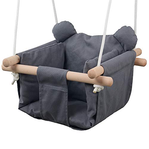Best Review Of Jozeit Baby Kids Toddler Canvas Swing Seat Chair - with Cushion - Bear Ear Decor (Gre...