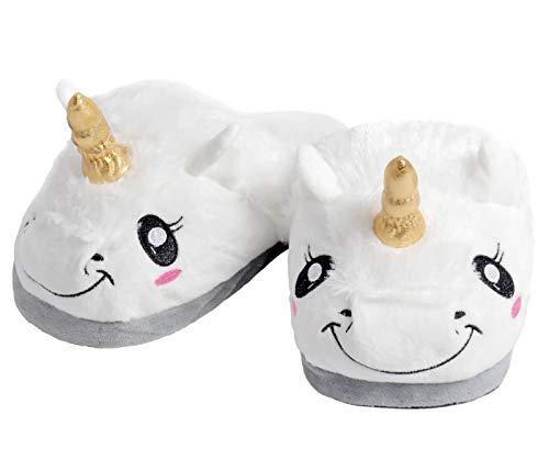 Pantuflas Zapatillas de Estar en Casa Unicornio Blancos Talla única 37 38 Suaves Calentitas Antideslizantes Peluche para Mujeres y Niñas