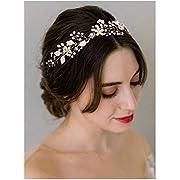 SWEETV Bohemian Headpiece Crystal Pearl Bridal Hair Vine Flower Halo Wedding Headband Tiara