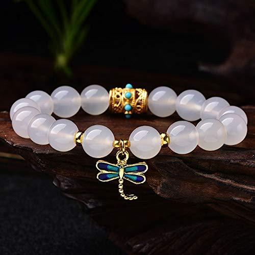 DFGHJH Águila Blanca Natural Feng Shui Wealth Cloisonne Dragonfly Pulsera Ajustable Reiki de la Mujer Curación del Chakra Meditación para la Buena Fortuna Valorosa Riqueza Lucky Peach Blossom Amor