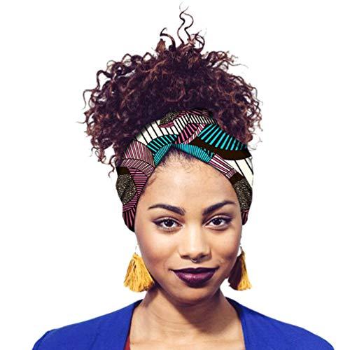 Yijinstyle Damen Kopftuch Printed Turban Afrikanischen Muster Knoten Schlaf Elegante Hijab Headscarf (Style#37, 12 * 200cm)
