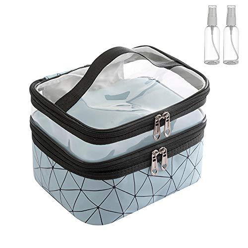 Bolsa de maquillaje de doble capa, transparente, organizador de cosméticos, bolsa impermeable para mujeres y niñas