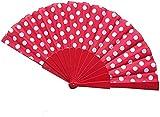 QXYMY 2 PC 9 Colores Elegante plástico español Ventiladores de Mano japoneses Lunares Mano Abanico Plegable (Color : D)