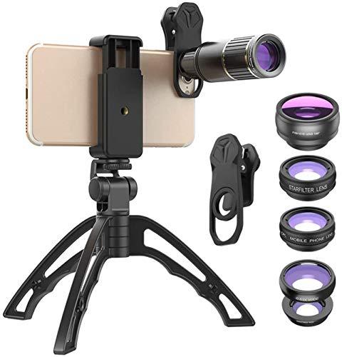Kit de Lentes para cámara de teléfono, Lente telefoto 16X HD de Alta Potencia con trípode, Compatible con iPhone 11 Pro MAX/XR/XS MAX/XS/X / 8/7/6/6 Plus/Samsung/Smartphone