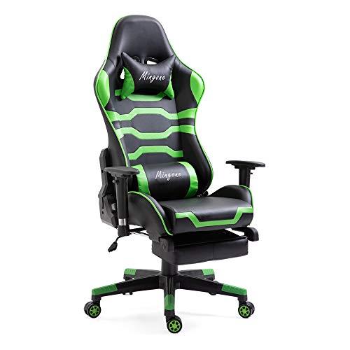 Mingone Essentials Gaming Stuhl Racing Stuhl Computerstuhl Chefsessel Höhenverstellbarer Schreibtischstuhl Ergonomisches Design mit Verstellbaren Armlehnen und Wippfunktion (Grün+mit Pedalen)