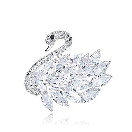 Zolkamery Broche de cisne para mujeres y madres, chapado en oro blanco plata broche con circonita cúbica, regalo de Navidad, joyería de fiesta de boda, vestido de noche
