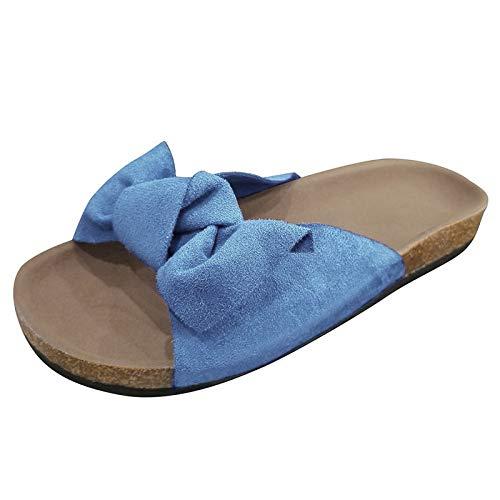 Xmiral Bowknot Slipper Damen Mode Flache Hausschuhe, Strandschuhe Sandalen mit Flache Sohle(36,Blau)