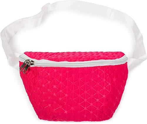 styleBREAKER Dames fanny pack geometrisch patroon reliëfoptiek, rits, gordeltas, heuptas 02012253, Farbe:Roze