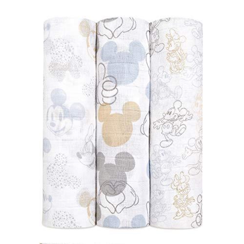 aden + anais Paquete de 3 pañales grandes 100% muselina de algodón metalizada Disney Baby – Mickey Mouse + Minnie Mouse (120 x 120 cm)