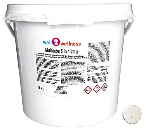 well2wellness Chlor Mini Multitabs 5 in 1 / kleine Multitabs 20g mit 5 Funktionen - 5,0 kg
