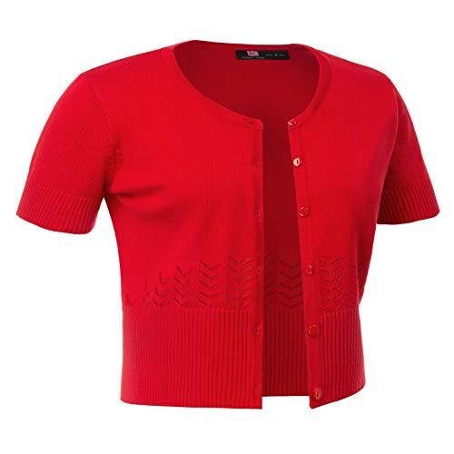 Soft Basic Crew Neck Short Sleeve Cropped Bolero Cardigan Sweater (M,Red)