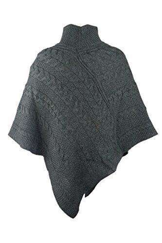 100% Irish Merino Ladies Aran Knit Poncho by West End Knitwear Charcoal,Medium-Large