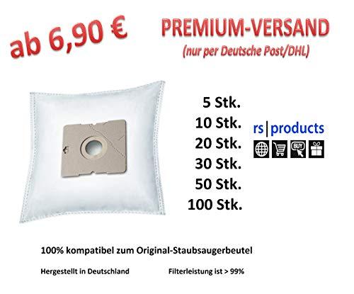 rs-products I Staubsaugerbeutel kompatibel zu ALDI QUIGG DIV 150, DIV150, DIV 350, DIV350, DIRT DEVIL EQU 4, FIF KS 5123, FIF KS 6122, INOTEC KS 6122 und LIDL Aquapur, W5, DIV 1010, DIV1010 (20x DA 6)